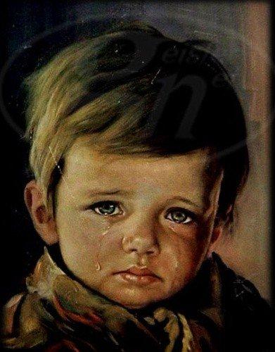 pintura niño llorando